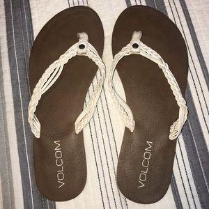 Volcom White braided flip flops